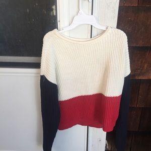 Sweaters - colorblock knit sweater